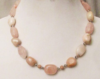 Pink Opal Jewelry, Rose Quartz Jewelry, Handmade, Gift for Her, Opal Necklace, Rose Quartz Necklace, Pink Necklace, Healing Nugget Necklace