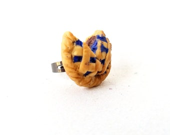 OOAK handsculpted miniature food polymer clay adjustable ring-blueberry pie