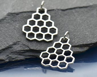 Sterling Silver Honeycomb, Honey Bee, Open Honeycomb Charm, Honeybee Charm, Silver Honeybee, Silver Honeycomb, Bee Hive Charm, Silver Hive