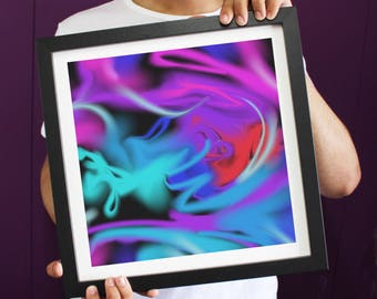 Abstract Strong Vibrant Colours 'Shock Blur' Framed Art Print ART111