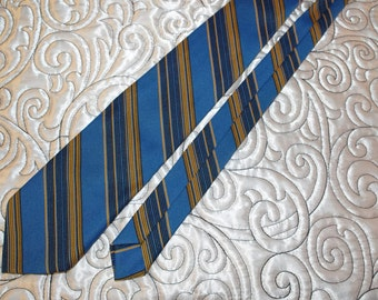 Vintage Blue Tan & Black Diagonal Striped Polyester Haband's Necktie