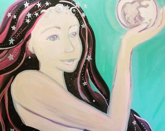 "Galaxy Goddess Original acrylic painting 22"" x 28"""