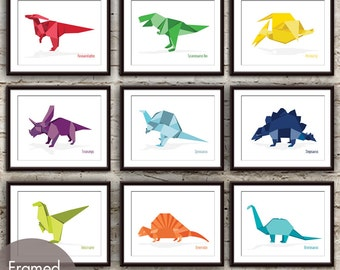 Dinosaur Origami Art Collection - Set of 9 - Art Print (Featured in Assorted Colors) (Customizable Colors)