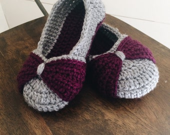 Toddler/Child Bow Slippers - purple and gray bow slippers crochet shoes