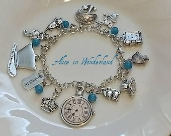 Alice in Wonderland inspired bracelet necklace or set