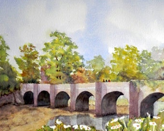 Castle Bridge, Buncrana, Co Donegal.Irish Watercolour. Limited Edition Print. Irish Art.
