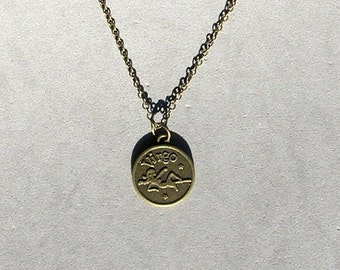 Antique Brass Virgo Pendant on Ant Brass Chain