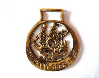 Vintage Horse Brass with the Mary Rose - Henry VIII's Flag Ship