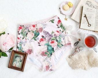 Vintage Floral 'Midsummer' Romantic Victorian-Inspired Romantic Boho Pink High Waist Panties