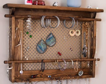 Jewelry Organizer, LARGE Wall Mounted Jewelry Holder. Shown in Walnut with your choice of metal background. Necklace hooks, Bracelet bars