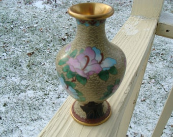 A Very Beautiful Chinese Wire Enamel Cloisonne Bud Vase Flowers Floral Decorated Clouds Vibrant colors