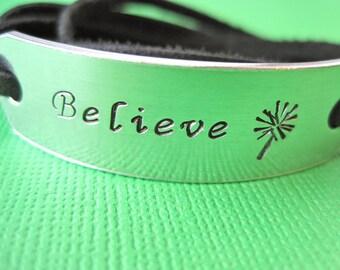 Believe - Personalized Bracelet - Stamped Art Bracelet - Leather Wrap