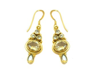 Royal Citrine 925 Sterling Silver Handmade Gold Plated Dangle Drops Earrings For GIFT