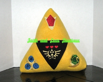 Zelda Tri Force Inspired Pillow Plushie/Stuffie with Embroidery