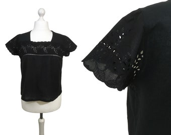 Black Broderie Anglaise Blouse | UK 16/18 | Vintage 1980's Blouse | Button Back Blouse | Peasant Hippy Blouse