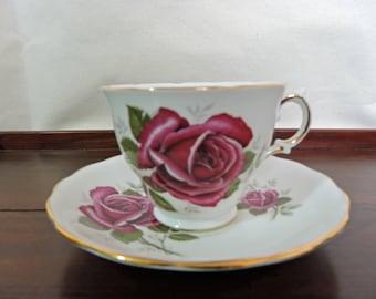 Red Rose Tea Cup And Saucer Bone China England Royal Kent