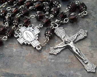 Czech Glass Rosary of Amethyst Cathedral Beads; Catholic Rosary; 5 Decade Rosary; Miraculous Medal; February Rosary