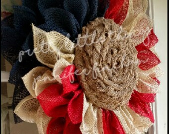 Burlap Sunflower - Rustic - Fourth of July - Patriotic - Labor Day - Red, White and Blue