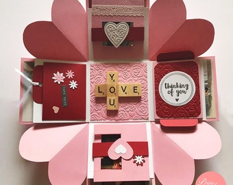 Love Explosion Box // Love Exploding Box // Surprise exploding box card // Pink red explosion box card // Valentine explosion box