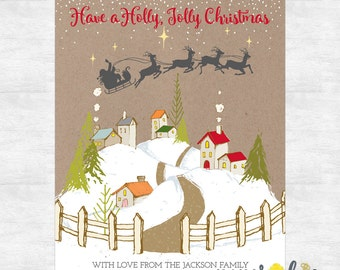 Rustic Christmas cards / Holly Jolly Christmas card set / Holiday card set / printed cards