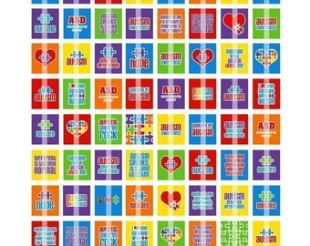 AUTISM AWARENESS DIGITAL COLLAGE SHEET (NO. 341) - SCRABBLE SIZE TILES 0.75 INCH X 0.83 INCH