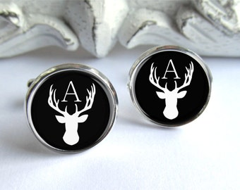 Personalized Cufflinks, Stag Cufflinks, Mens Initial Cufflinks