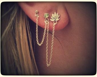 Lotus Flower and Peridot Earrings