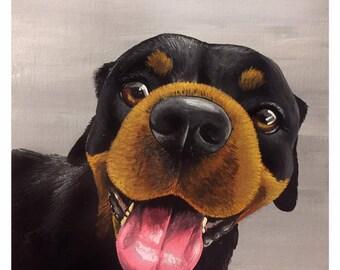 "Pup Study 8 - Original acrylic on board 5x7"""