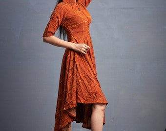fire brown vintage printed gown