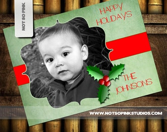 Happy Holiday Greeting Card with  Photo