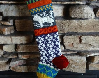 Personalized Christmas Stockings, Christmas Stocking, Knit Christmas Stocking, Knitted Christmas Stockings, Gray Wolf, Blue Hearts