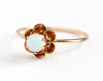Sale - Antique Opal Ring - Edwardian 10k Rosy Yellow Gold Solitaire Round Gem - Size 8 1/2 Stick Pin Conversion Buttercup Flower Jewelry