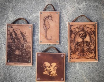 Leather Laser Etched Images Pictures Wall Art - Skeleton, Kraken, The Kiss, Seahorse
