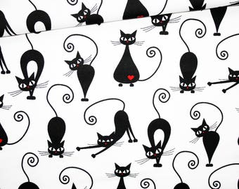 Black Cat, 100% cotton fabric printed 50 x 160 cm, black cats with a red heart on a white background