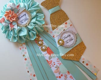 Aqua and Coral Baby Shower Mommy to be Corsage/Aqua and Peach Mommy to be Pin/Aqua and Coral Baby Shower Pins/Girl Baby Shower Mommy Pin