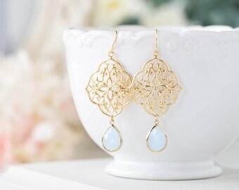 Powder Blue Gold Filigree Earrings, Baby Blue light Blue Glass Dangle Earrings, Something Blue Wedding Jewelry, Bohemian Boho Chic Earrings