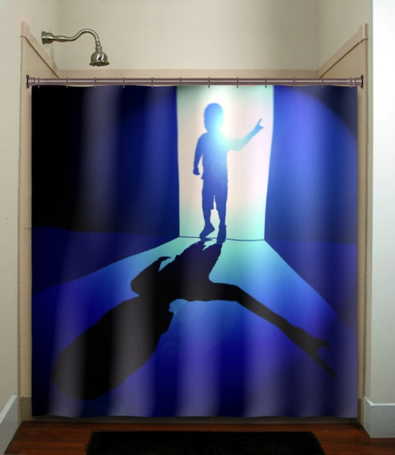 Kid Boy Blue Creepy Family Secrets Depression Shower Curtain