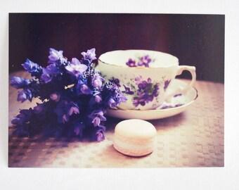 still life postcard set, lavender tea, macaron, fine china tea invite, stationery gift set, postcards with envelopes,