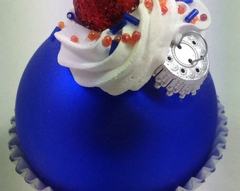 Cupcake Ornament - Blue & Orange