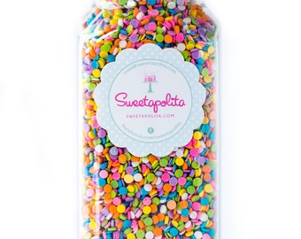 16oz (2 cups) Bottle Pastel Sequin Sprinkles, Gluten-Free, Edible Sequins, Pastel Quins, Confetti Sprinkles