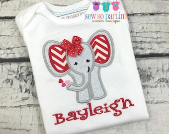 Baby Girl Elephant Outfit - Valentine Shirt for girls - Elephant Valentine Bodysuit - Baby Girl Elephant Shirt - valentines day shirt girl