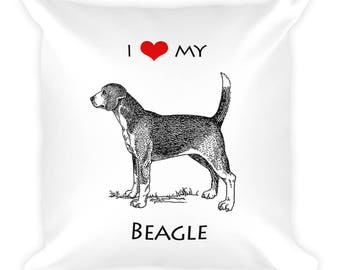 I Love My Beagle Square Pillow