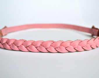 Bubblegum Pink Leather Braided Heaband Newborn Baby Child Adult Photo Prop Headwrap Spring Summer Beautiful for Little Girl Child Bow
