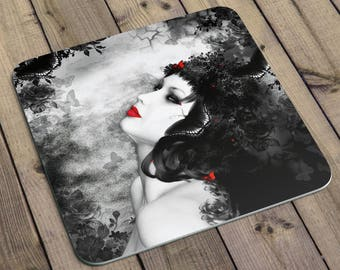 Gothic Butterfly Goddess Coasters. Set of coasters featuring my gothic lady. Coaster set of 6