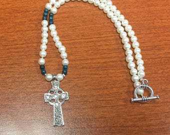 Celtic Cross Necklace with Pearls