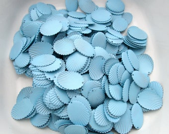 390 pieces blue cold enamel scalloped 23x17mm stampings charms destash bulk lot BL331