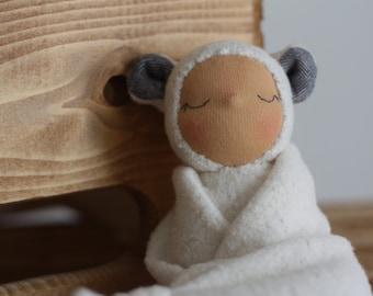 Handmade organic baby lovey // Waldorf lovey doll // blanket doll // Waldorf baby doll // organic fabric doll // baby shower gift // newborn