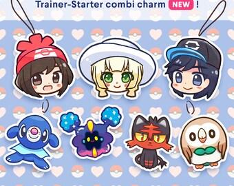 Pokemon Sun Moon Custom Starter-Trainer charm | Choose from Male - Female Trainer -  Lillie - Cosmog - Rowlet - Litten - Popplio