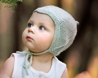 Knitting Pattern, Pixie Hat Pattern, Vintage Style Baby Hat Pattern,  Earflap Hat Pattern, Instant Download PDF Pattern  RIVER