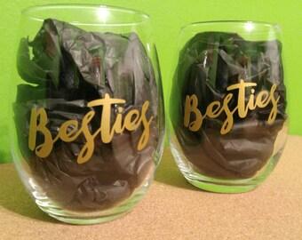 Besties - Pair of Stemless Wine Glasses